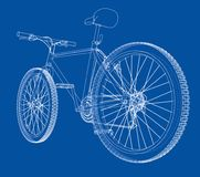 Bicycle. Wire-frame style. Vector. Bicycle. Vector rendering of 3d. Wire-frame style. The layers of visible and invisible lines are separated Stock Images
