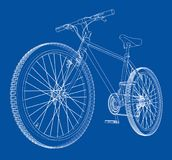 Bicycle. Wire-frame style. Vector. Bicycle. Vector rendering of 3d. Wire-frame style. The layers of visible and invisible lines are separated Stock Photo