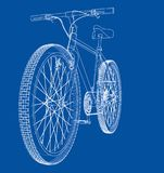 Bicycle. Wire-frame style. Vector. Bicycle. Vector rendering of 3d. Wire-frame style. The layers of visible and invisible lines are separated Stock Photos