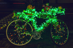 Bicycle With Brightly Green Illumination Stock Photo
