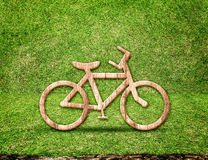 Bicycle wood icon in green grass room,Eco concept Royalty Free Stock Photos