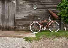 Bicycle and wooden cabin Royalty Free Stock Image