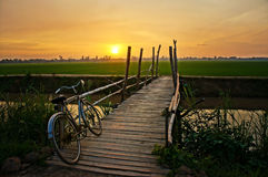 Bicycle on wooden fence of bridge at sunset Royalty Free Stock Photo