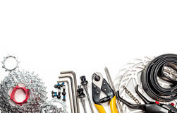 Bicycle workshop spares and tools Royalty Free Stock Photos