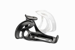 Bicycle's black and white plastic water bottle clip isolated Royalty Free Stock Photos