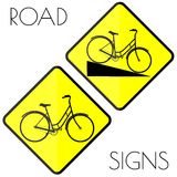 Bicycle yellow road signs Stock Photo