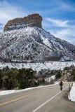 Bicycler велосипедиста горы национального парка verde мезы на шоссе Стоковые Фото