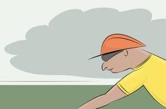 Bicycler dans le casque et le jersey jaune Images stock