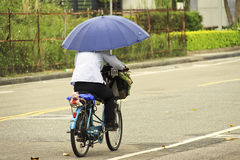 Bicycler. Man ride a bicycle on the streets of Taipei Royalty Free Stock Photography