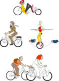 Bicycles 1. Various bicycles with different cyclists Royalty Free Stock Images