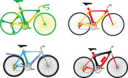 Bicycles. 4 bicycles isolated on a white background vector illustration