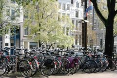 Bicycles. Lined up in the city of Amsterdam Stock Image