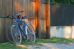 Bicycles. Two bicycles leaning against a door at the sunset Stock Photography