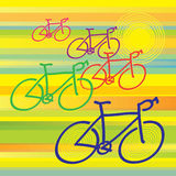 Bicycles. Racing with colorful background Royalty Free Stock Image