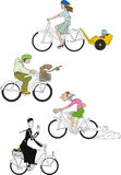 Bicycles 2. Various bicycles with different cyclists Royalty Free Stock Image