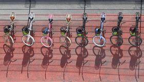Bicycles. Bikes lined up with baskets Stock Photo
