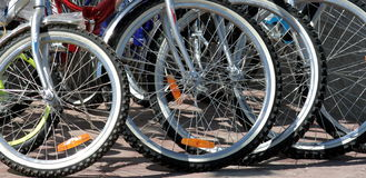 Bicycles. Many wheels of the bicycles Stock Photo