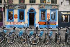 Bicycles. To rent in the town of Dublin, Ireland. This is the district of the famous temple bar with the most pubs . Photo was taken in august 2012 Royalty Free Stock Photography