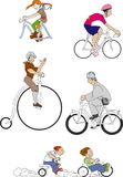 Bicycles 3. Various bicycles with different cyclists Royalty Free Stock Photography