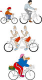 Bicycles 4. Various bicycles with different cyclists Stock Images