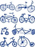 Bicycles. Eight Hand drawn bicycle Doodles Royalty Free Stock Photos