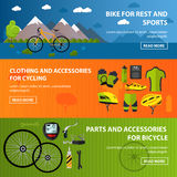 Bicycles accessories banners. Sport vector concept illustration in flat style. Clothing and equipment, bike, helmet Royalty Free Stock Photos