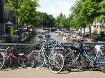 bicycles against Amsterdam canal Stock Image