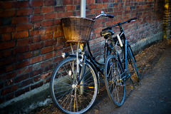 Bicycles in alley Stock Photo