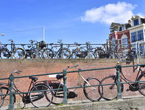 Bicycles in Amsterdam city Royalty Free Stock Photo