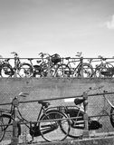 Bicycles in Amsterdam city Stock Photos