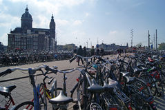 Bicycles in  Amsterdam Royalty Free Stock Photos