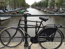 Bicycles of Amsterdam. Views of Amsterdam's Netherlands canals Stock Image