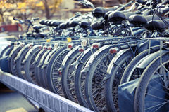Bicycles Arranged in a Row Prepared for Transportation Royalty Free Stock Photography