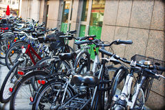 Bicycles as a common form of transport Royalty Free Stock Image