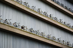 Bicycles as decoration on building Stock Images