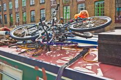 Bicycles atop a canal barge royalty free stock image