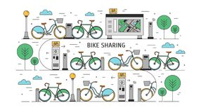 Bicycles available for rent parked at docking stations on city street, payment terminals, map stand and trees. Concept. Of public bike sharing scheme. Colorful royalty free illustration