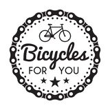Bicycles Badge/Label. Bike for you custom shop. Bicycles Badge/Label with chain. Bike for you custom hipster shop. For signage, prints and stamps royalty free illustration