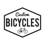 Bicycles Badge/Label. Custom Bike. For signage, prints and stamps. bicycle service business Stock Image