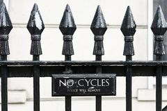 Bicycles banned - police will remove Royalty Free Stock Photos