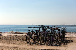 Bicycles at the beach Stock Photography
