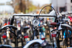 Bicycles at a bicycle parking lot Stock Images