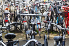 Bicycles at a bicycle parking lot Royalty Free Stock Photo
