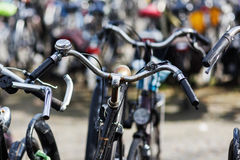 Bicycles at a bicycle parking lot Royalty Free Stock Images