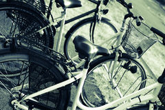 Bicycles in bike racks Royalty Free Stock Photos