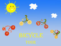 Bicycles on the blue sky background Stock Image