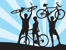 Bicycles and boys and girl 2 Royalty Free Stock Image