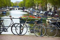Bicycles on a bridge Royalty Free Stock Image