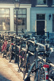 Bicycles on a bridge in Amsterdam. Netherlands Royalty Free Stock Photography