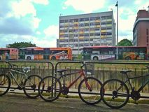 Bicycles and buses. Are environmentally friendly modes of private and public transport in Singapore Royalty Free Stock Images